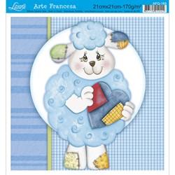 Papel para Arte Francesa Quadrado Litoarte AFQ-169 Ovelha Azul I