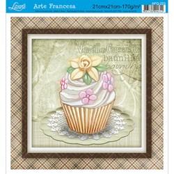 Papel para Arte Francesa Quadrado Litoarte AFQ-223 Cupcake