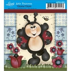 Papel para Arte Francesa Quadrado Litoarte AFX-061 Joaninha