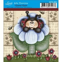 Papel para Arte Francesa Quadrado Litoarte AFX-063 Joaninha