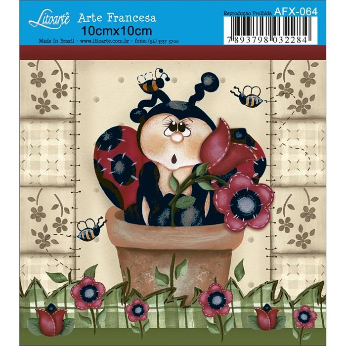 Papel para Arte Francesa Quadrado Litoarte AFX-064 Joaninha