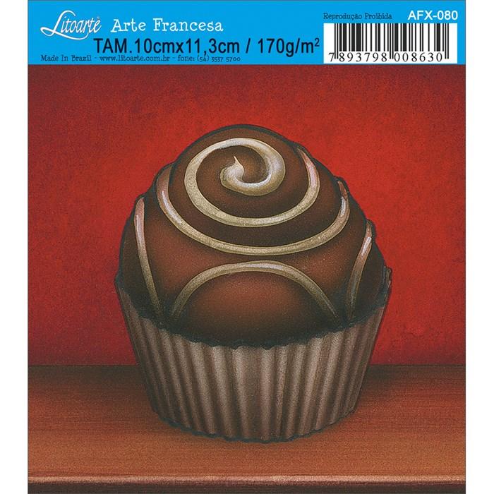 Papel para Arte Francesa Quadrado Litoarte AFX-080 Chocolate