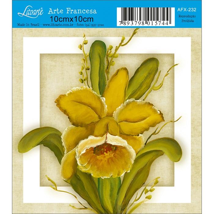 Papel para Arte Francesa Quadrado Litoarte AFX-232 Orquídea Amarela
