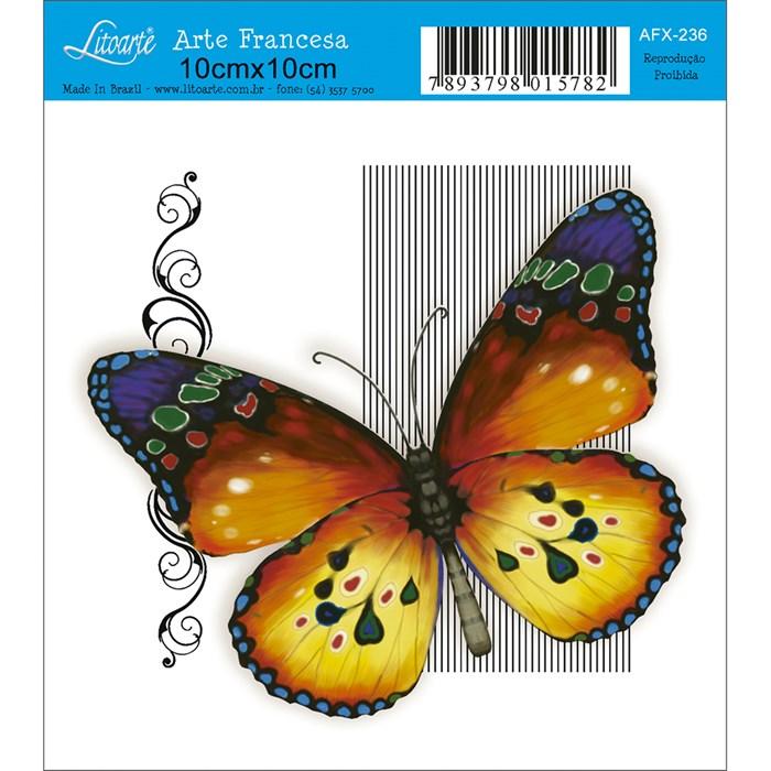 Papel para Arte Francesa Quadrado Litoarte AFX-236 Borboleta