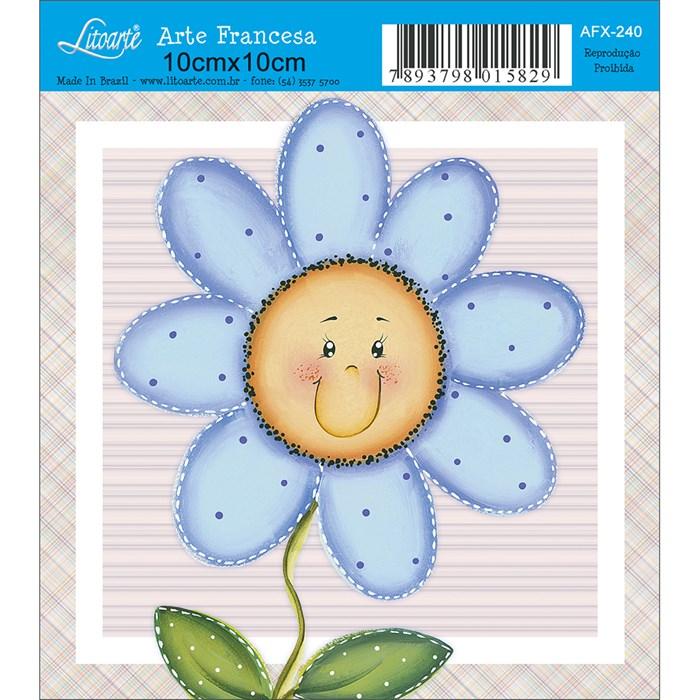 Papel para Arte Francesa Quadrado Litoarte AFX-240 Flor Contente Azul