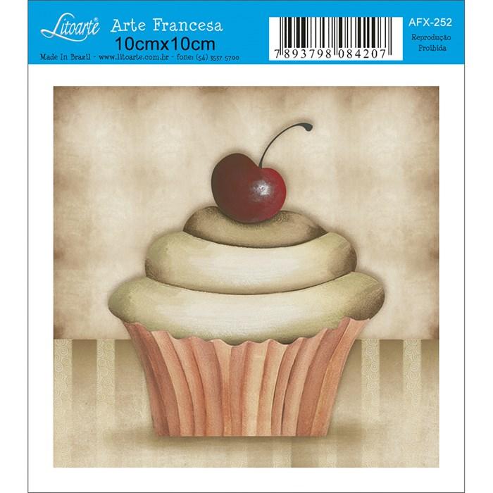Papel para Arte Francesa Quadrado Litoarte AFX-252 Cupcake VI