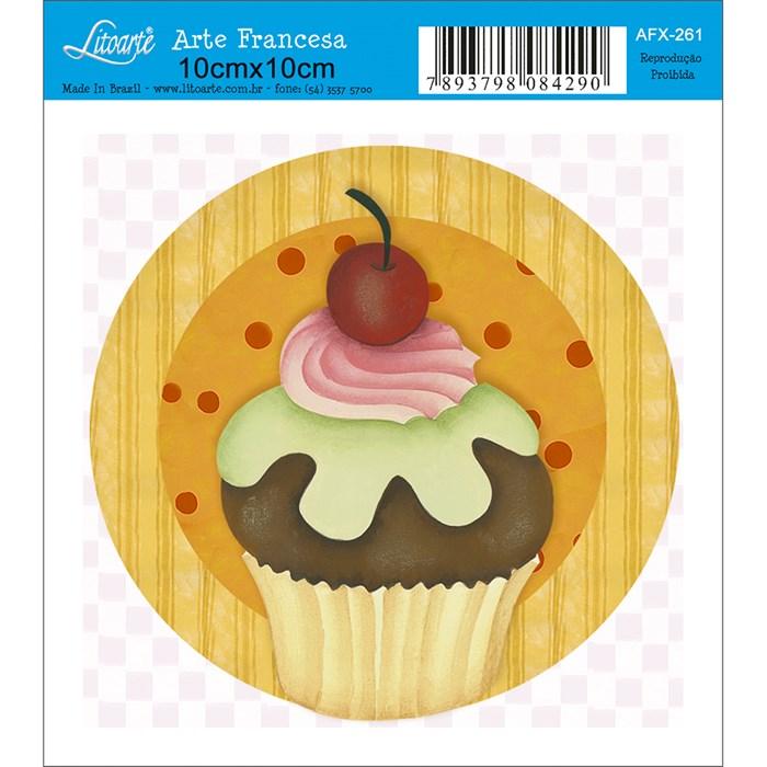 Papel para Arte Francesa Quadrado Litoarte AFX-261 Cupcake VII