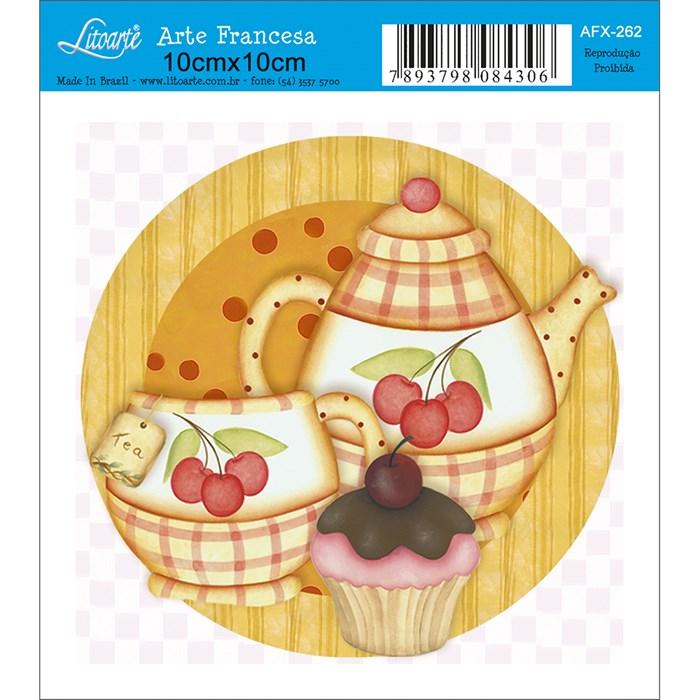 Papel para Arte Francesa Quadrado Litoarte AFX-262 Cupcake com Xicara