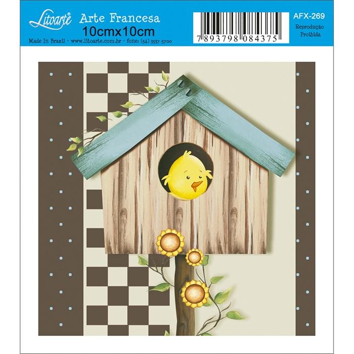 Papel para Arte Francesa Quadrado Litoarte AFX-269 Passarinho II