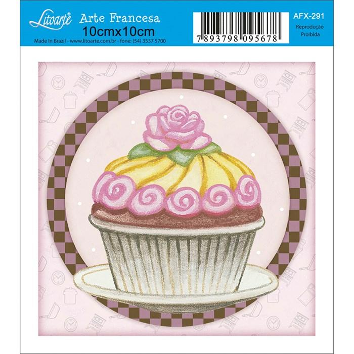 Papel para Arte Francesa Quadrado Litoarte AFX-291 Cupcake