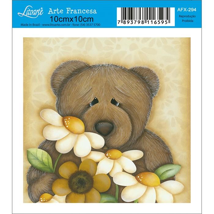Papel para Arte Francesa Quadrado Litoarte AFX-294 Urso com Flores
