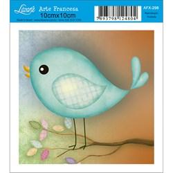 Papel para Arte Francesa Quadrado Litoarte AFX-298 Pássaro Verde Pisc.
