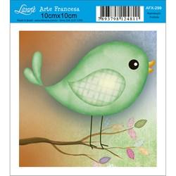Papel para Arte Francesa Quadrado Litoarte AFX-299 Pássaro Verde