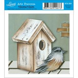 Papel para Arte Francesa Quadrado Litoarte AFX-304 Pássaro e Casinha