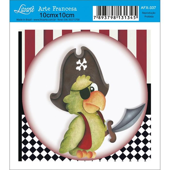 Papel para Arte Francesa Quadrado Litoarte AFX-337 Papagaio Pirata