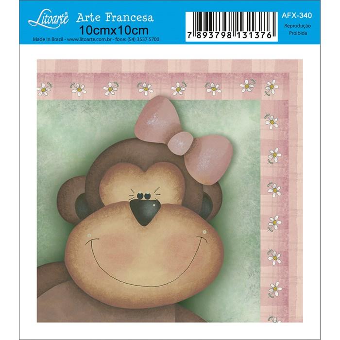 Papel para Arte Francesa Quadrado Litoarte AFX-340 Macaco com Laço