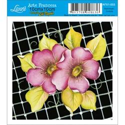 Papel para Arte Francesa Quadrado Litoarte AFX1-001 Flor Lilás