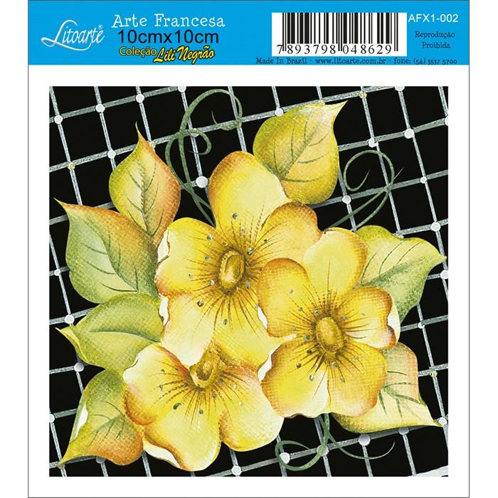 Papel para Arte Francesa Quadrado Litoarte AFX1-002 Flor Amarela