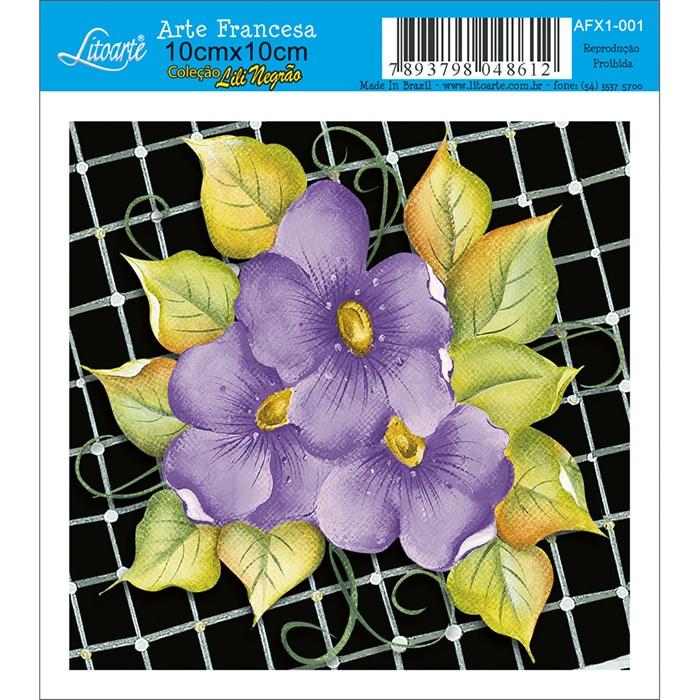 Papel para Arte Francesa Quadrado Litoarte AFX1-003 Flor Rosa
