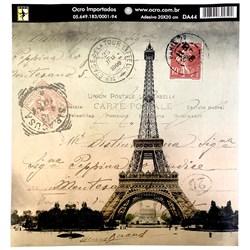 Papel para Decoupage 20x20cm Ocro DA44 Postal Paris