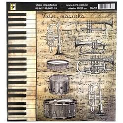 Papel para Decoupage 20x20cm Ocro DA52 Música