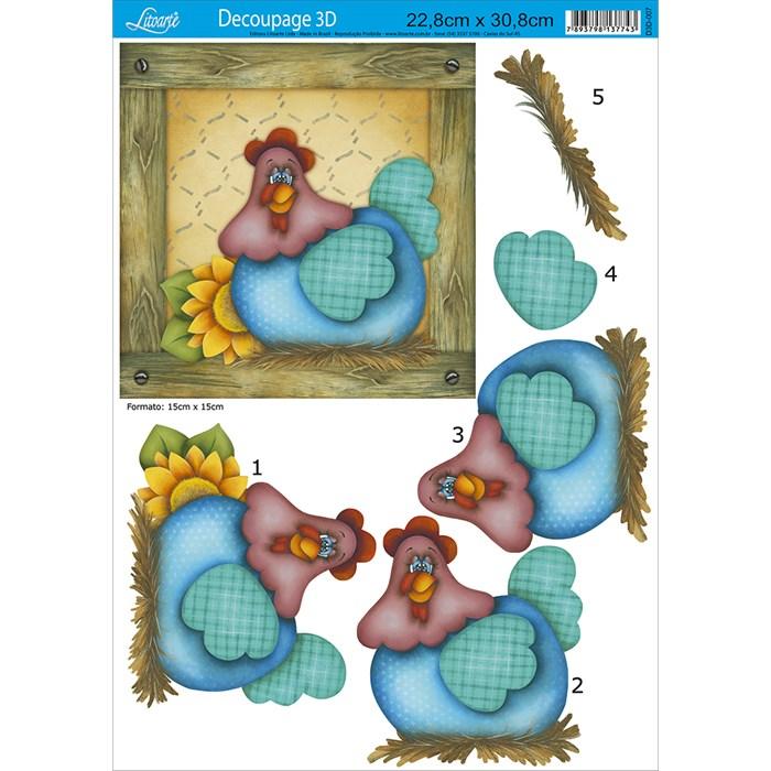 Papel para Decoupage 3D Litoarte D3D-007 Galinha