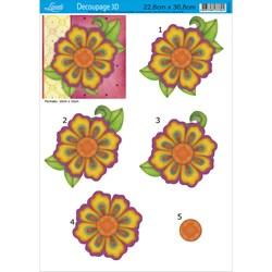 Papel para Decoupage 3D Litoarte D3D-013 flor