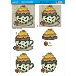 Papel para Decoupage 3D Litoarte D3D-014 Xícaras