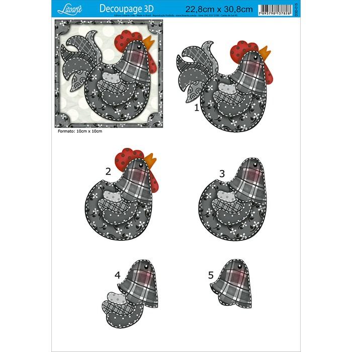 Papel para Decoupage 3D Litoarte D3D-015 Galinha Country
