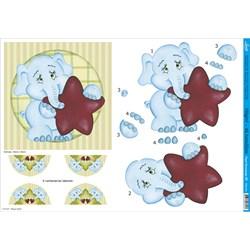 Papel para Decoupage 3D Litoarte PD3-016 Elefante Azul