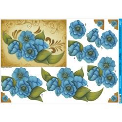 Papel para Decoupage 3D Litoarte PD3-024 Flores Azul