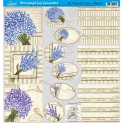 Papel para Decoupage Kit Lembranças Litoarte DS-009 Lavender