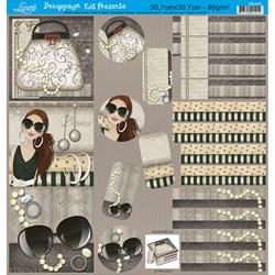 Papel para Decoupage Kit Lembranças Litoarte DS-015 Dama e Acessórios