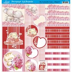 Papel para Decoupage Kit Lembranças Litoarte DS-016 Urso Love