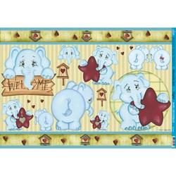 Papel para Decoupage Litoarte PD-443 Elefante Azul