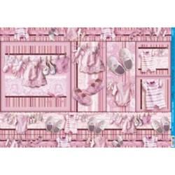 Papel para Decoupage Litoarte PD-521 Acessórios Bebê Rosa