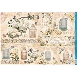 Papel para Decoupage Litoarte PD-927 Gaiola Pássaros Com Flores