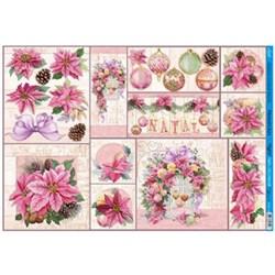 Papel para Decoupage Litoarte PDN-114 Flor de Natal Rosa