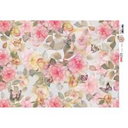 Papel para Decoupage Opa OPAP,EL - 2532 Flores Rosadas
