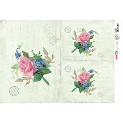 Papel para Decoupage Opa OPAPEL - 2380 Flor Rosa IV
