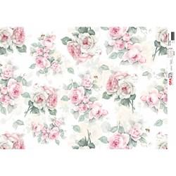 Papel para Decoupage Opa OPAPEL - 2563 Estampa Flores Rosas Vintage