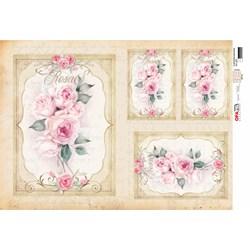 Papel para Decoupage Opa OPAPEL - 2815 Flor Rosas Moldura