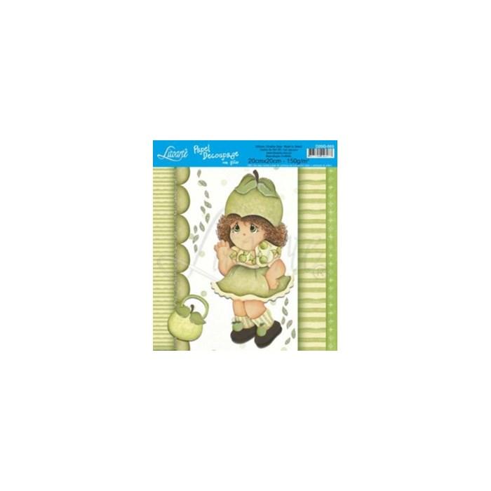 Papel para Decoupage Quadrado com Glitter D20G-005 Menina Pêra