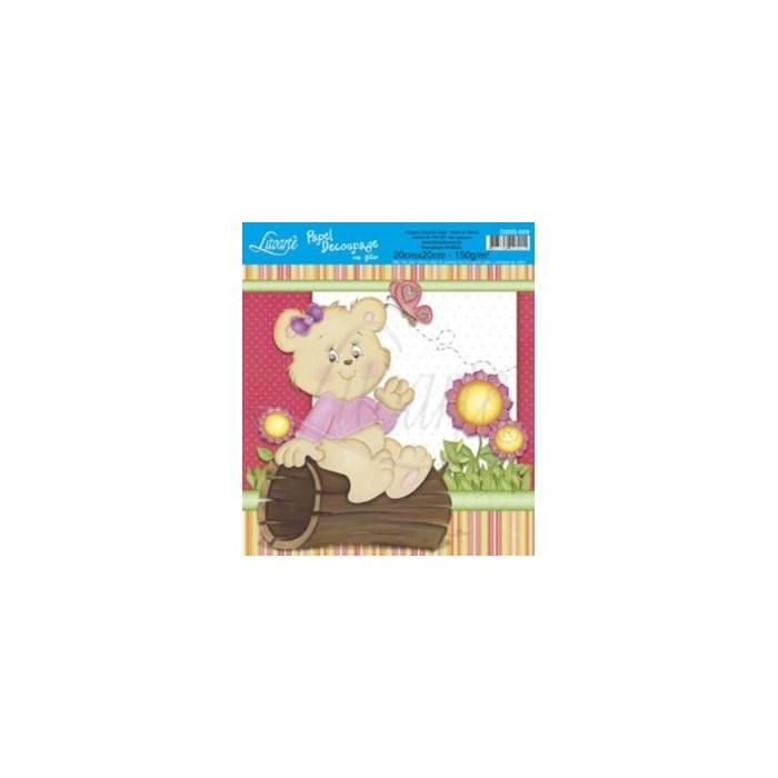 Papel para Decoupage Quadrado com Glitter D20G-009 Urso