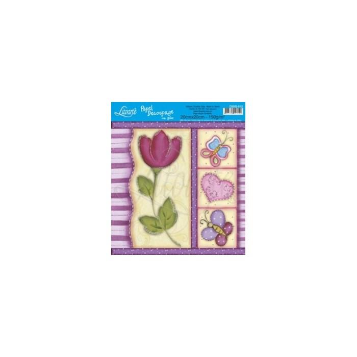 Papel para Decoupage Quadrado com Glitter D20G-012 Flor