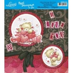 Papel para Decoupage Quadrado com Glitter D20G-018 Urso I love You