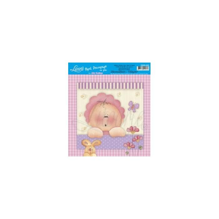Papel para Decoupage Quadrado com Glitter D20G-022 Bebezinha