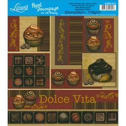 Papel para Decoupage Quadrado com Hot Stamping D20H-015 Chocolates