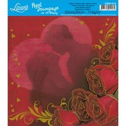 Papel para Decoupage Quadrado com Hot Stamping D20H-016 Amor