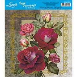 Papel para Decoupage Quadrado com Hot Stamping D20H-021 Rosas